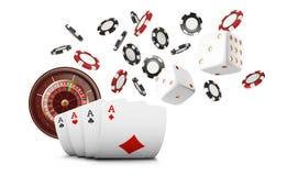 Spela kort och den klipska kasinot för pokerchiper Kasinoroulettbegrepp på vit bakgrund Pokerkasinoillustration Beträffande royaltyfri illustrationer