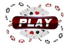 Spela kort och lek för kasino för pokerchiper klipsk knäppas begrepp på vit bakgrund Pokerkasinoillustration Röd royaltyfri illustrationer