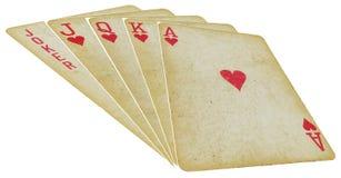 Spela kort - raksträcka - på vit Royaltyfria Foton