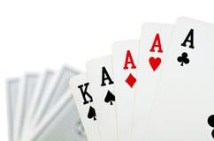 Spela kort - som isoleras på vit bakgrund Royaltyfria Foton