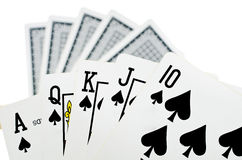 Spela kort - som isoleras på vit bakgrund Royaltyfria Bilder
