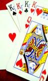 Spela kortet med hjärta Arkivfoto