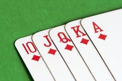 Spela kortet, rak spolning arkivfoton