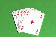 Spela kortet, rak spolning Royaltyfri Foto