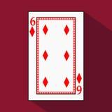 Spela kortet symbolsbilden är lätt DIAMONT SEX 6 med vit en bassubstrate Illustration på röd bakgrund applica vektor illustrationer