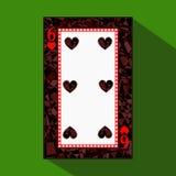 Spela kortet symbolsbilden är lätt HEARTSIX 6 om mörk regiongräns en illustration på grön bakgrund applicat stock illustrationer