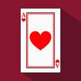 Spela kortet symbolsbilden är lätt HJÄRTAöverdängare med vit en bassubstrate Illustration på röd bakgrund applejacken stock illustrationer