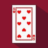 Spela kortet symbolsbilden är lätt HJÄRTA ÅTTA 8 med vit en bassubstrate Illustration på röd bakgrund applica royaltyfri illustrationer