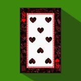 Spela kortet symbolsbilden är lätt HJÄRTA ÅTTA 8 om mörk regiongräns en illustration på grön bakgrund appli royaltyfri illustrationer