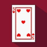 Spela kortet symbolsbilden är lätt HJÄRTA FYRA 5 med vit en bassubstrate Illustration på röd bakgrund applicat royaltyfri illustrationer