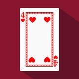 Spela kortet symbolsbilden är lätt HJÄRTA FYRA 4 med vit en bassubstrate Illustration på röd bakgrund applicat stock illustrationer