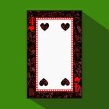 Spela kortet symbolsbilden är lätt HJÄRTA FYRA 4 om mörk regiongräns en illustration på grön bakgrund applic stock illustrationer