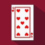 Spela kortet symbolsbilden är lätt HJÄRTA NIO 9 med vit en bassubstrate Illustration på röd bakgrund applicat royaltyfri illustrationer