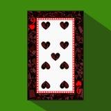 Spela kortet symbolsbilden är lätt HJÄRTA NIO 9 om mörk regiongräns en illustration på grön bakgrund applic vektor illustrationer