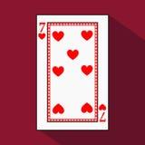 Spela kortet symbolsbilden är lätt HJÄRTA SJU 7 med vit en bassubstrate Illustration på röd bakgrund applica vektor illustrationer