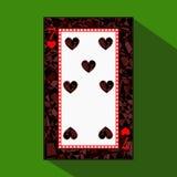 Spela kortet symbolsbilden är lätt HJÄRTA SJU 7 om mörk regiongräns en illustration på grön bakgrund appli vektor illustrationer