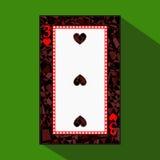 Spela kortet symbolsbilden är lätt HJÄRTA THIRD3 om mörk regiongräns en illustration på grön bakgrund applic vektor illustrationer