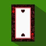 Spela kortet symbolsbilden är lätt HJÄRTA TVÅ 2 om mörk regiongräns en illustration på grön bakgrund applica stock illustrationer