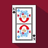Spela kortet symbolsbilden är lätt KLUBBAKONUNG NYTT ÅR SANTA CLAUS JULÄMNE med vit en bassubstrate I stock illustrationer