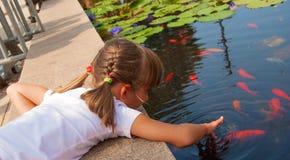 Spela med en fisk Royaltyfri Foto