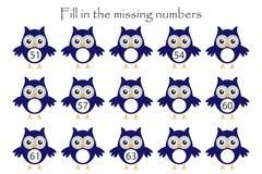 Spela med ugglor för barn, fyll in de saknade numren, den mellersta nivån, utbildningsleken för ungar, skolaarbetssedelaktivitet, vektor illustrationer