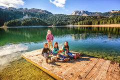 Spela med valpar på den svarta sjön i Durmitor, Montenegro Royaltyfri Bild