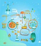 Spela och lär och tidigt att framkalla Lär nummer Gullig bildande affisch för ungar Redigerbar vektorillustration Royaltyfri Foto
