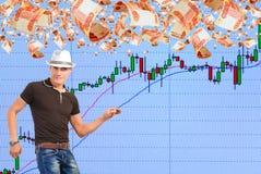 Spela på löneförhöjningen i aktiemarknaden. royaltyfri bild