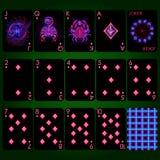 Spela tecken för zodiak för kortserieneon Diamanten passar den leka fulla uppsättningen för kort arkivbilder