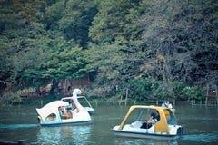 Spela watercycle i Inokashira parkera Arkivfoton