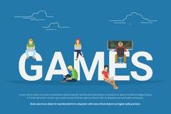 Spelar begreppsillustrationen stock illustrationer
