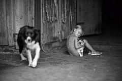 Spelar en flicka och med en katt och en hund Royaltyfri Foto