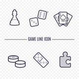 Spelar linjära symboler royaltyfri illustrationer