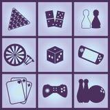spelar symboler royaltyfri illustrationer