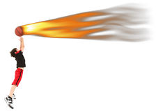 spelare för brand för barn för bollbasketpojke fångande Arkivfoton