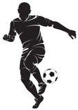 Spelare för fotboll (fotboll) med bollen Royaltyfri Foto