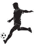 Spelare för fotboll (fotboll) med bollen Royaltyfri Bild