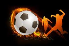 spelare för fotboll två med vektorn för brandboll Stock Illustrationer