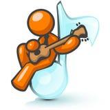 spelare för gitarrmanorange Royaltyfria Foton