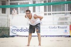 Spelare för manstrandvolleyboll Italiensk nationell mästerskap Arkivfoton