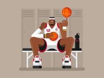 spelare för maskoten för baskettecknad filmhuvudet tumm upp royaltyfri illustrationer