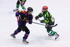 Spelare i handling i ishockeyfinalen av Copaen del Rey Arkivfoto