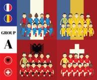 Spelare med flaggor Royaltyfri Fotografi