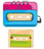 Spelare och kassett stock illustrationer