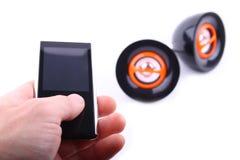 Spelare och två högtalare Arkivfoto