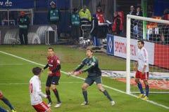 Spelare Rene Adler av den Hamburg sportklubban HSV arkivfoton