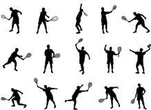 spelare silhouettes tennis Arkivfoto