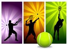 spelare silhouettes tennisvektorn Fotografering för Bildbyråer