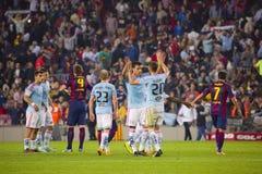 Spelare som firar segern Fotografering för Bildbyråer