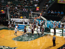 Spelaren doppar basket som annat försök att blockera Arkivfoto
